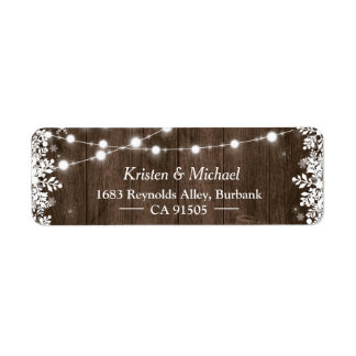 Rustic String Lights Wood Winter Snowflakes Label