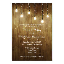 Rustic String Of Lights Country Reception Card