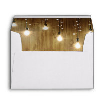 Rustic String Of Lights Country Wedding Envelope