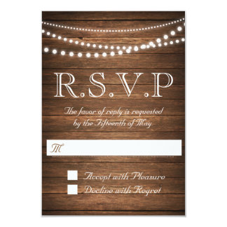 "Rustic String of Lights RSVP 3.5"" x 5"" Card"
