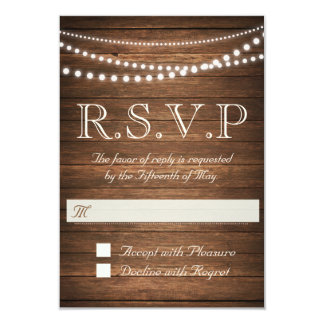 "Rustic String of Lights RSVP 3.5"" x 5"" (Off White) Card"