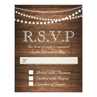 "Rustic String of Lights RSVP 4.25"" x 5.5"" Card"