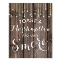 Rustic string of lights s'more wedding or party poster