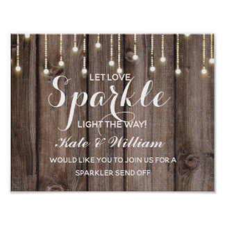 Rustic  String of lights sparkler send off wedding Poster