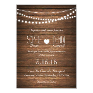 Rustic String of Lights Wedding Invitation at Zazzle