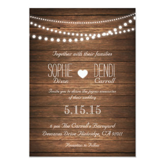 Rustic String of Lights Wedding Invitation