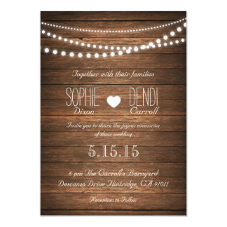 Rustic String of Lights Wedding Invite (Off White)