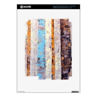 Rustic Stripes Blue, White & Yellow Painting iPad 3 Decal