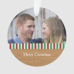 Rustic Stripes Holiday Photo Acrylic Ornament