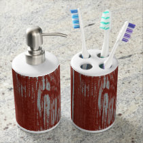 Rustic Style Country Red Painted | Barn Wood Bathroom Set