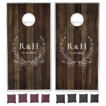 Rustic Style Farmhouse Theme | Dual Monogram Cornhole Set