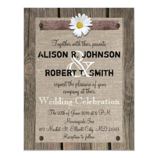 Rustic Style Wedding Invitation with Daisy
