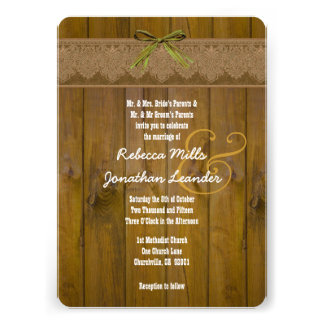 Rustic Style Wood Texture and Damask Wedding V24 Invites