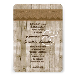Rustic Style Wood Texture and Damask Wedding V25 Cards