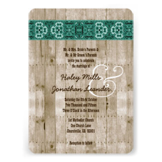 Rustic Style Wood Texture and Damask Wedding V25A Invite