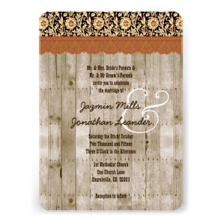 Rustic Style Wood Texture and Damask Wedding V25C Personalized Invite