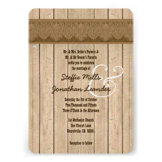Rustic Style Wood Texture and Damask Wedding V26 Invite