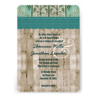 Rustic Style Wood Texture and Floral Wedding V25F Cards