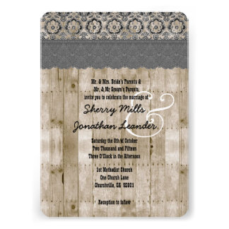 Rustic Style Wood Texture and Floral Wedding V25G Personalized Invite