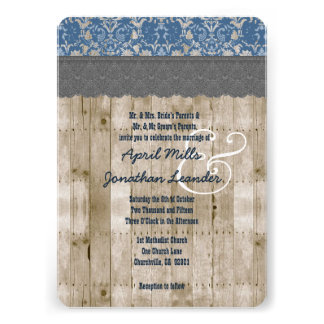 Rustic Style Wood Texture and Floral Wedding V25H Custom Announcements