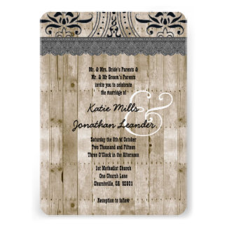 Rustic Style Wood Texture and Stencil Wedding V25F Announcements