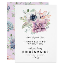 Rustic Succulent Bloom | Will You Be My Bridesmaid Card
