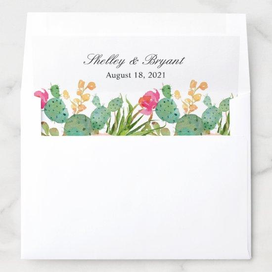 Rustic Succulent Cactus Floral Envelope Liner