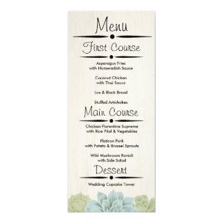 Rustic Succulent Wedding Reception Menu Card