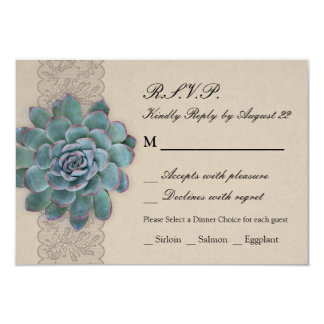 Rustic Succulent Wedding RSVP Card