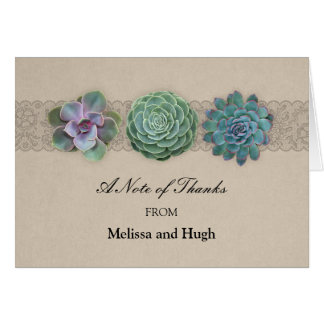 Rustic Succulent Wedding Thank You Card Note Card