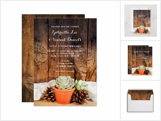 Rustic Succulents and Barn Wood Wedding Stationery