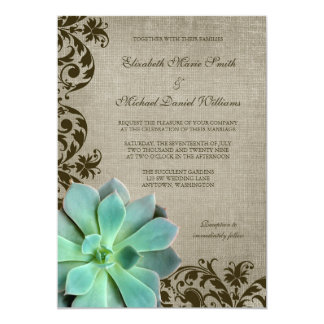 Rustic Succulents Brown Swirls Wedding 5x7 Paper Invitation Card