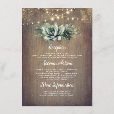 Rustic Succulents Greenery Wedding Information Enclosure Card