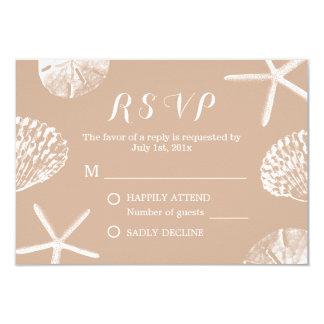 Rustic Summer Beach Seashells Wedding RSVP Card
