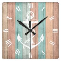 Rustic Summer Beach Wood Nautical Stripes & Anchor Square Wall Clock