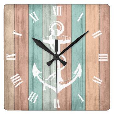Beach Themed Rustic Summer Beach Wood Nautical Stripes & Anchor Square Wall Clock