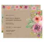 Rustic Summer Floral Kraft Wedding Invitation
