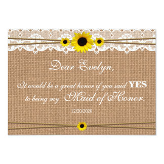 Rustic Sun Flower Will You Be My Maid of Honor Card