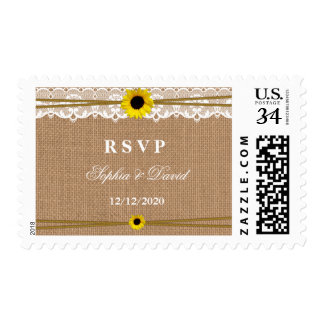 Rustic Sun Flowers, Lace and Burlap Wedding RSVP Stamp