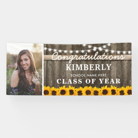 Rustic Sunflower 2020 Graduation Photo Banner