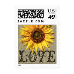Rustic Sunflower and Burlap Love Postage Stamps