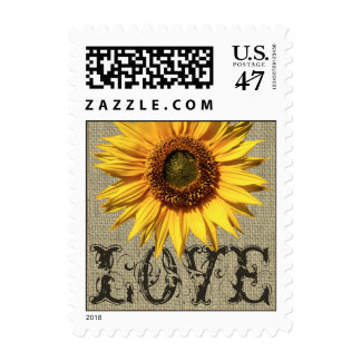 Rustic Sunflower and Burlap Love Stamp