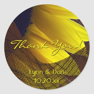 Rustic Sunflower and Burlap Thank You