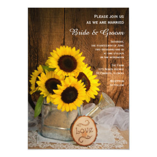 Rustic Sunflower and Garden Watering Can Wedding 5x7 Paper Invitation Card