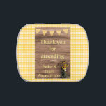 """Rustic Sunflower and gingham wedding Jelly Belly Candy Tin<br><div class=""""desc"""">This wedding reception favor is perfect if you are having a casual barn wedding. With its rustic wooden background and pretty canning jar of sunflowers, it is ideal for a western themed country wedding. A great way to thank your guests for attending. Easy to customize template but if you need...</div>"""