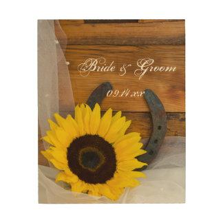 Rustic Sunflower and Horseshoe Wedding Wood Canvas Wood Wall Art
