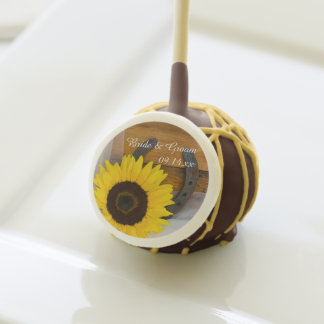 Rustic Sunflower and Horseshoe Western Wedding Cake Pops