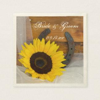 Rustic Sunflower and Horseshoe Western Wedding Napkin