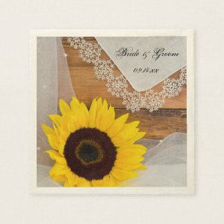 Rustic Sunflower and Lace Country Wedding Paper Napkin