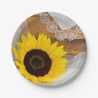 Rustic Sunflower and Lace Country Wedding Paper Plate